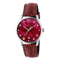 Gucci G-Timeless Red Mother Of Pearl Dial & Leather Watch