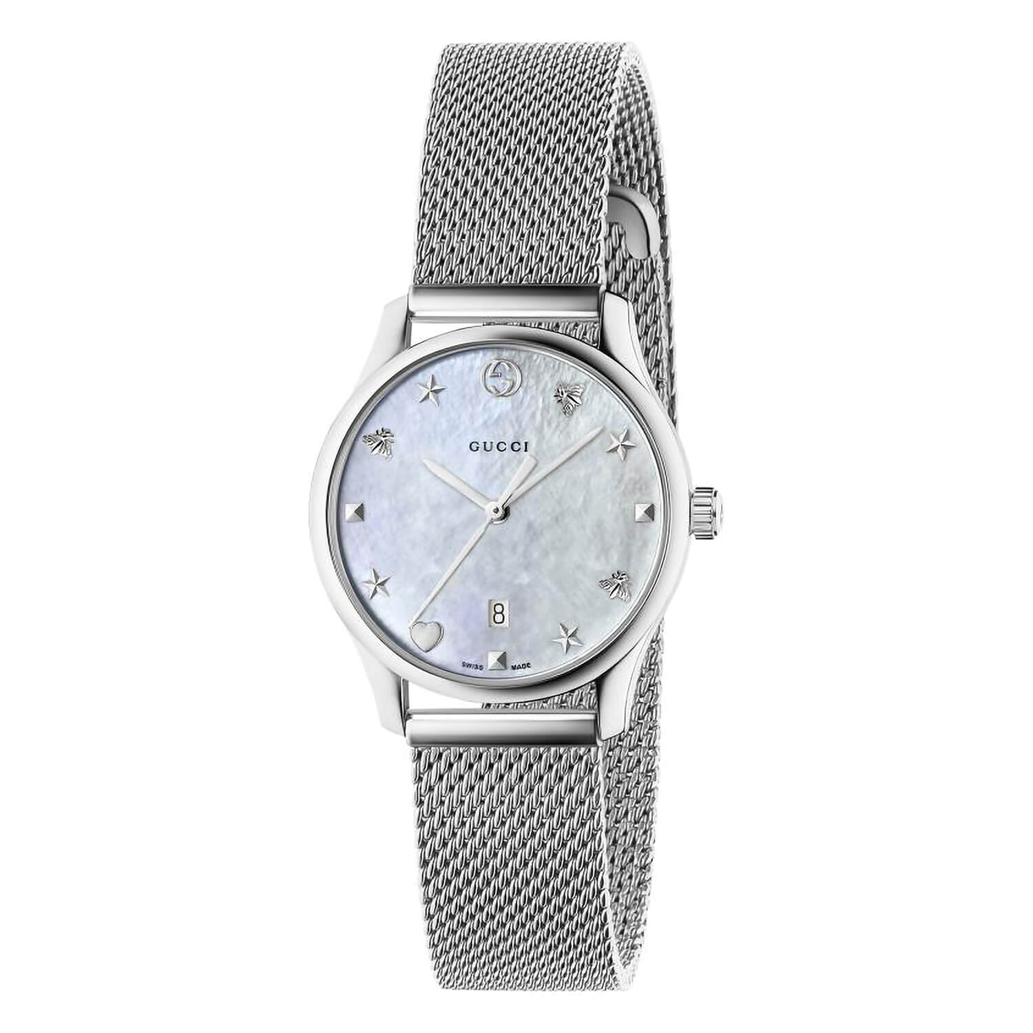 Gucci G-Timeless Pearl Dial Steel Mesh Strap Ladies' Watch