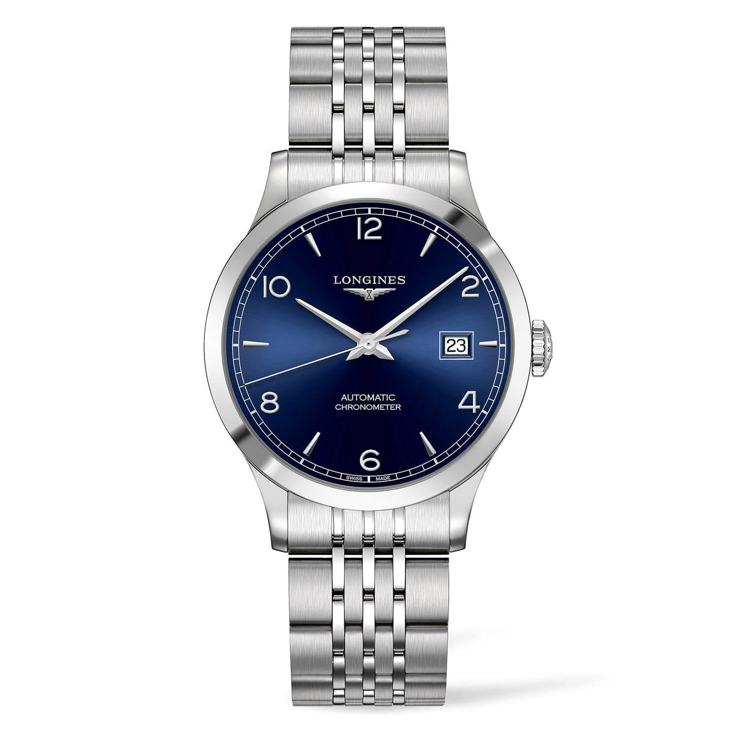 Longines Record Blue Dial Steel Bracelet Men's Watch