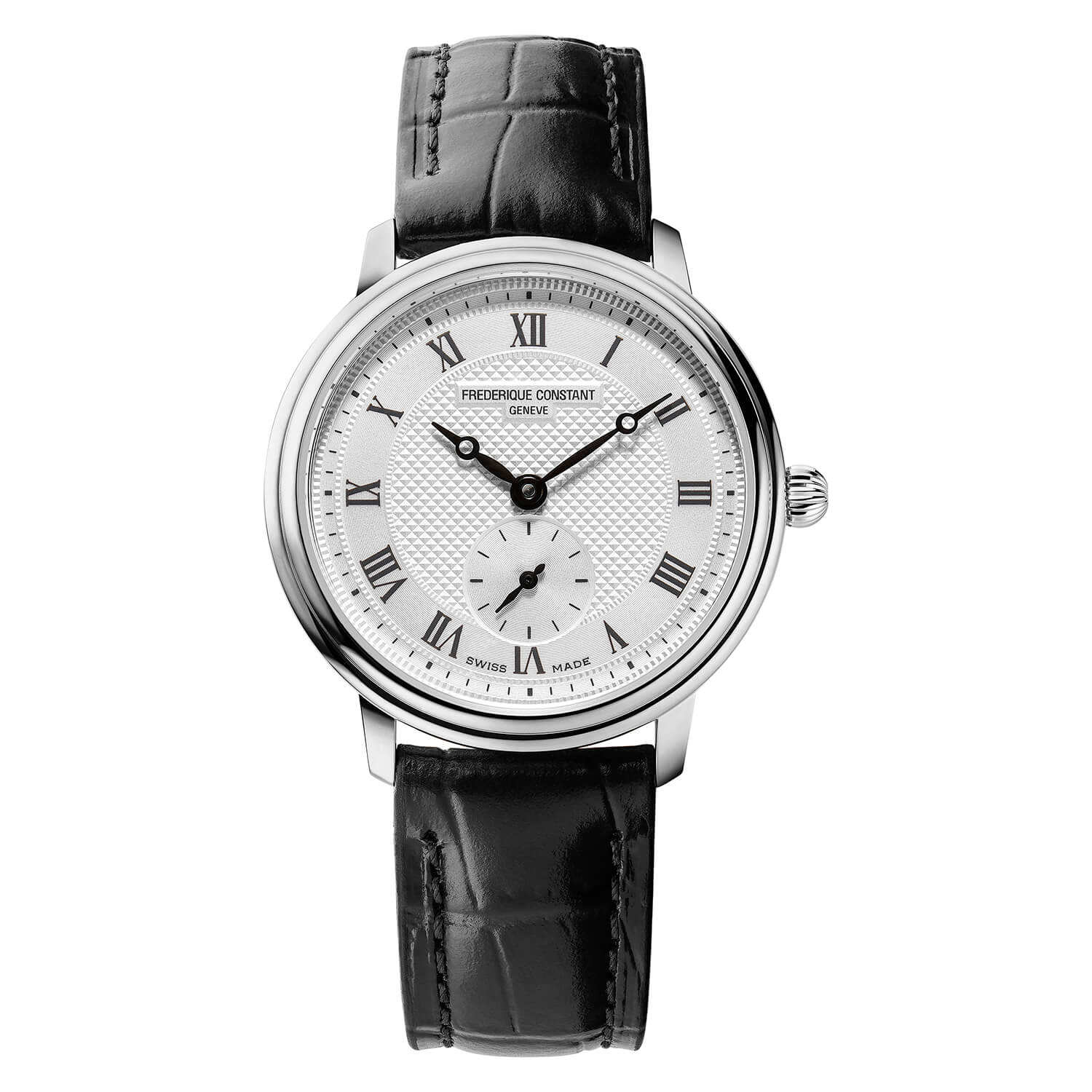 Frederique Constant Slimline Round Dial Black Strap Ladies Watch