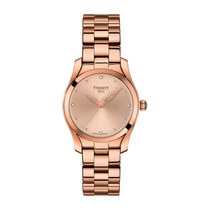 Tissot T-Wave Rose Gold Diamond Dial Steel Bracelet Ladies' Watch