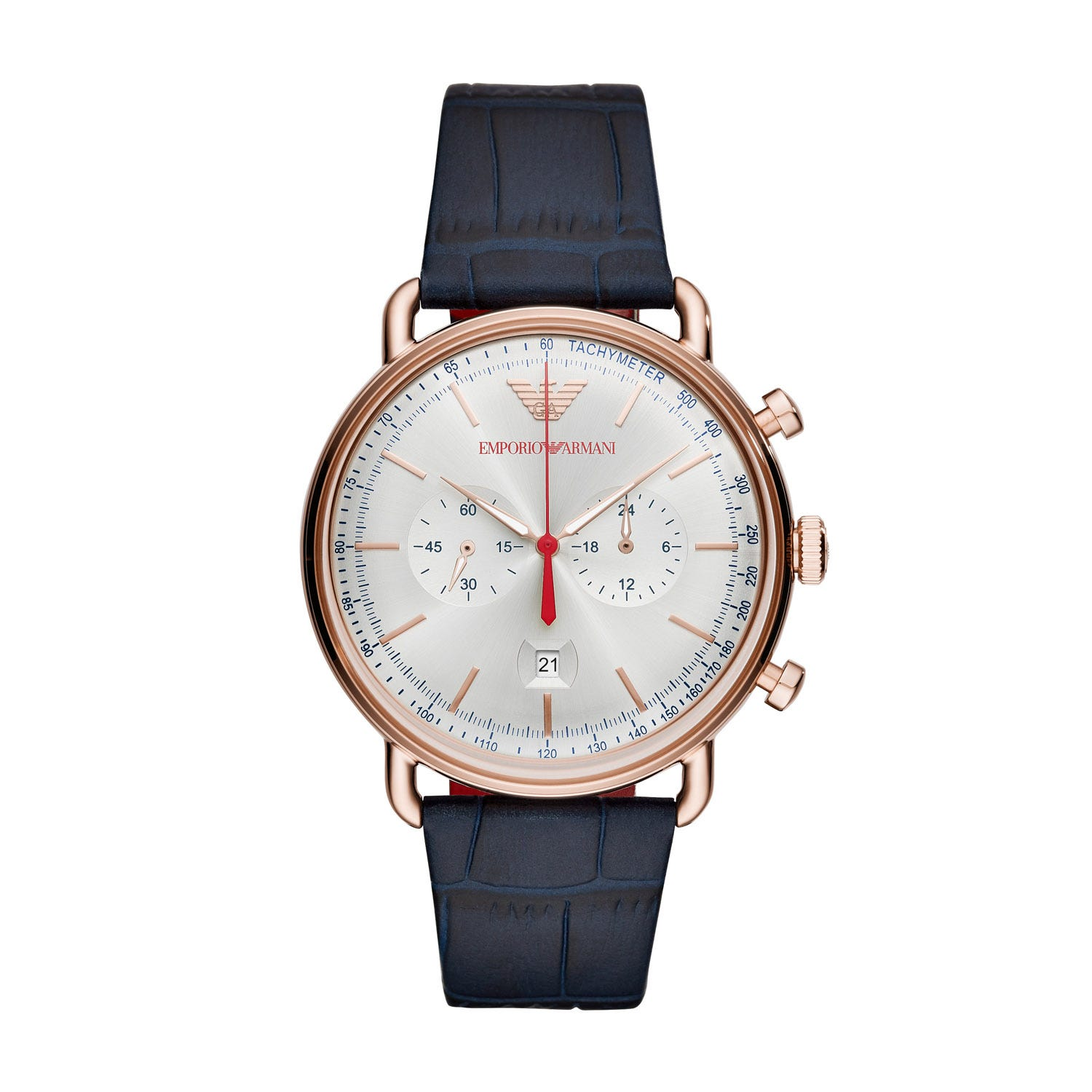 Emporio Armani Chronograph Blue Leather Men's Watch
