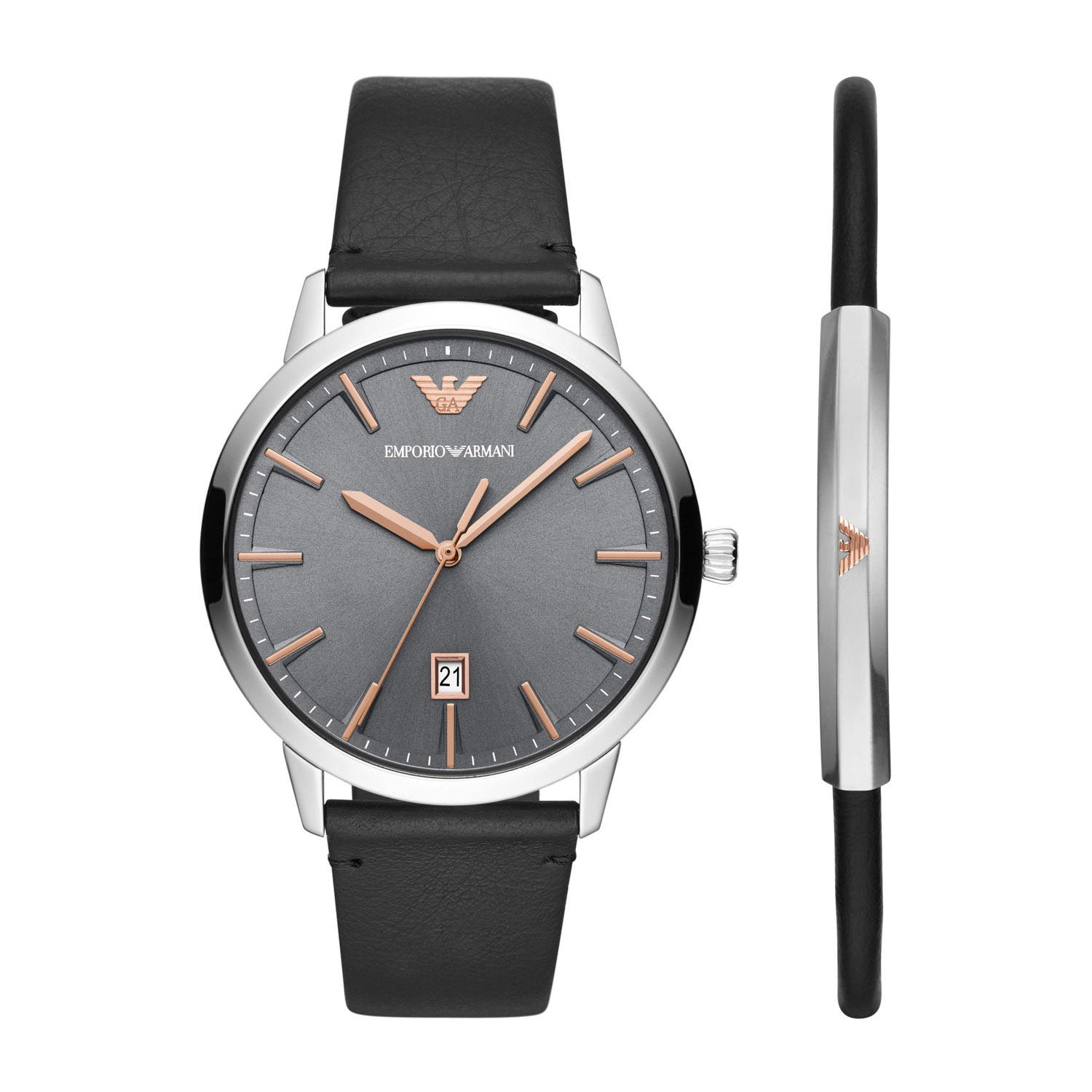 Emporio Armani Men's Black Leather Watch & Bracelet Set