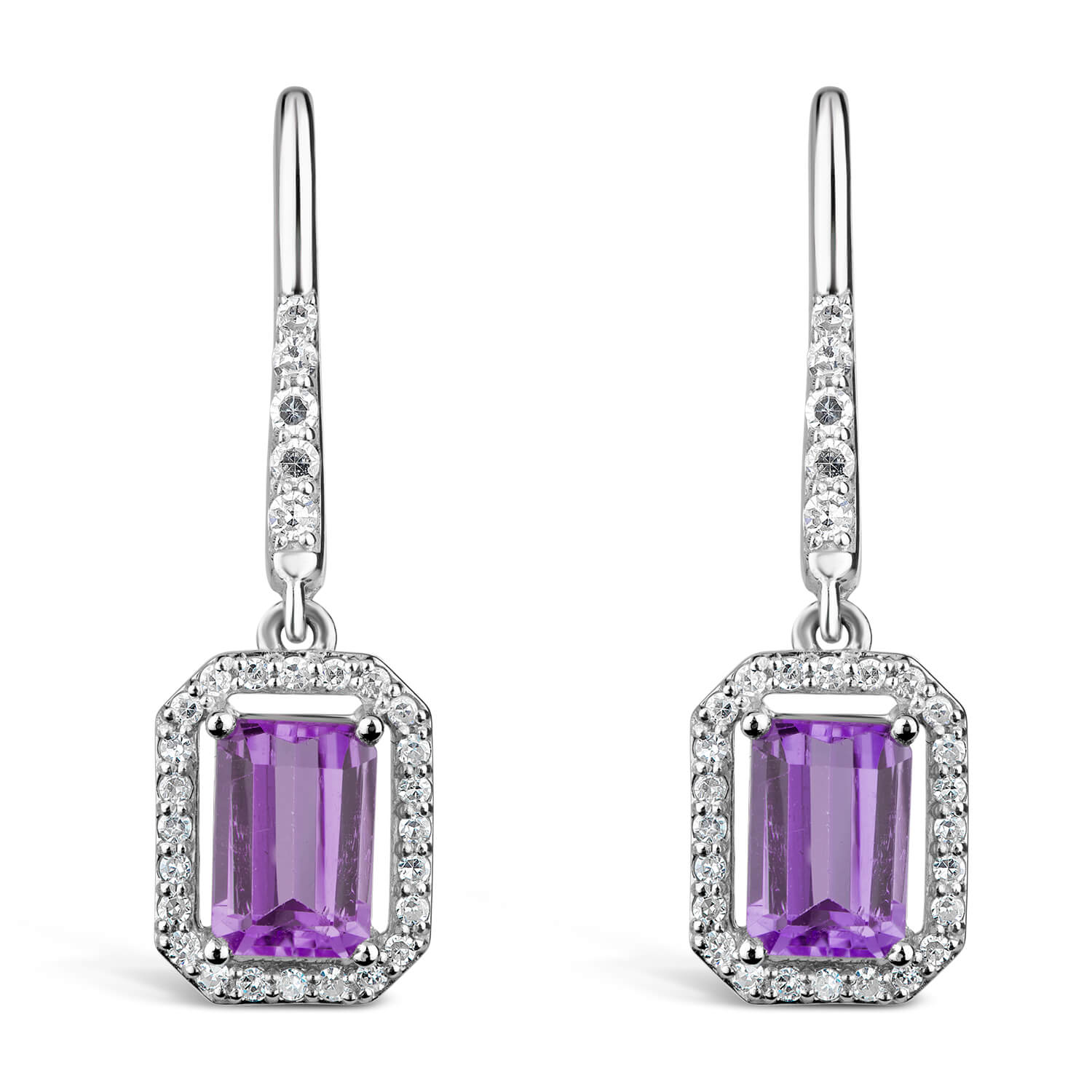 9ct White Gold 0.16ct Amethyst And Diamond Halo Ladies Drop Earrings