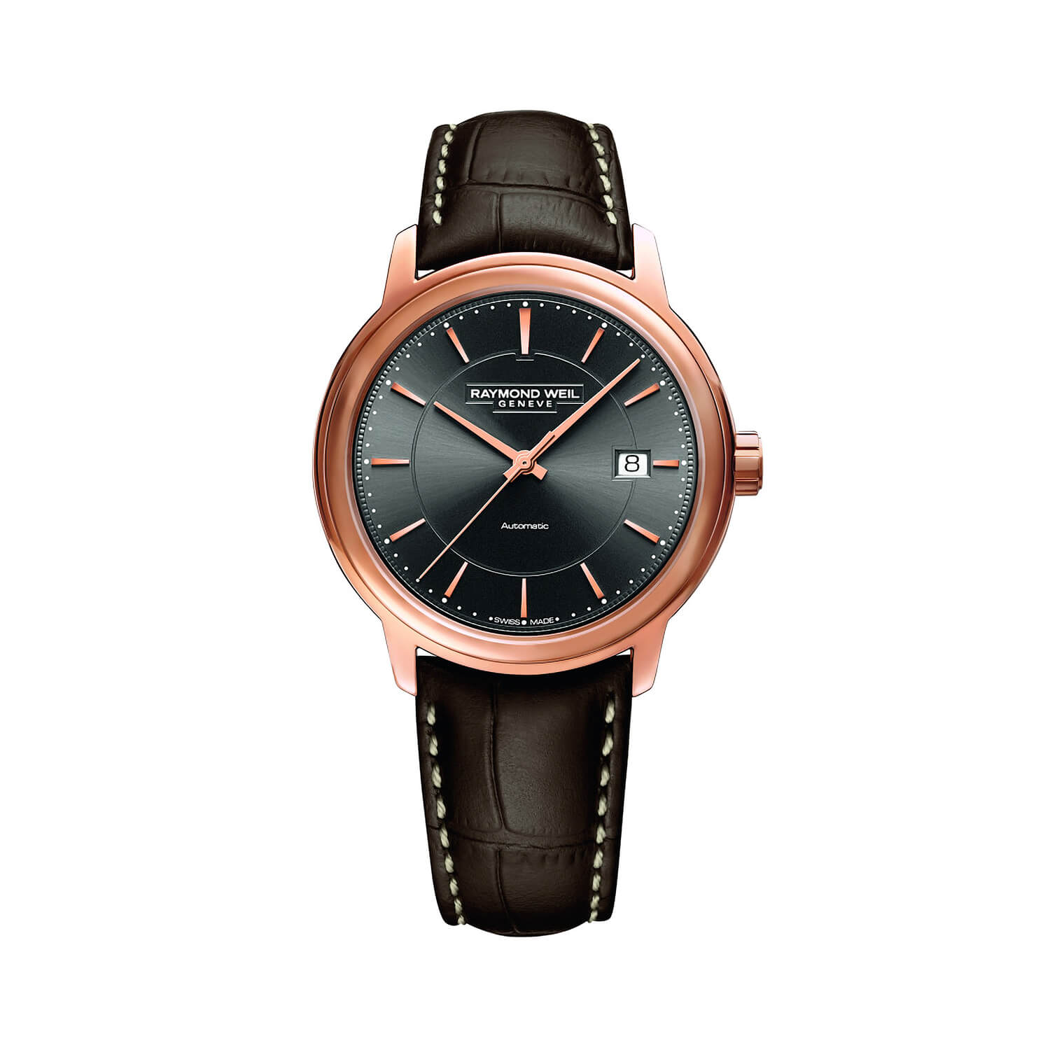 Raymond Weil Maestro Automatic Grey Dial Brown Leather 39mm Mens Watch