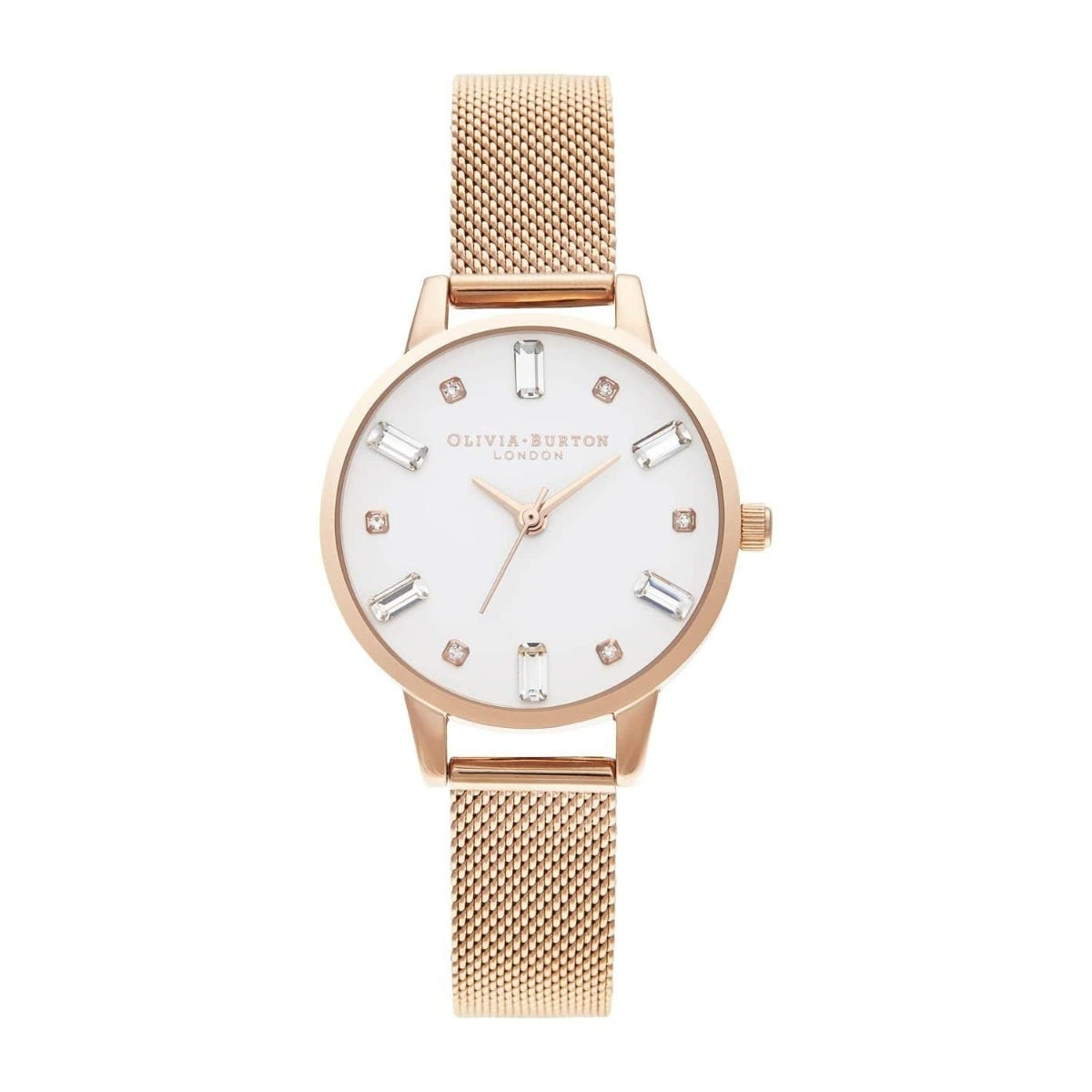 Olivia Burton Bejewelled Rose Gold-Toned Mesh Bracelet Watch