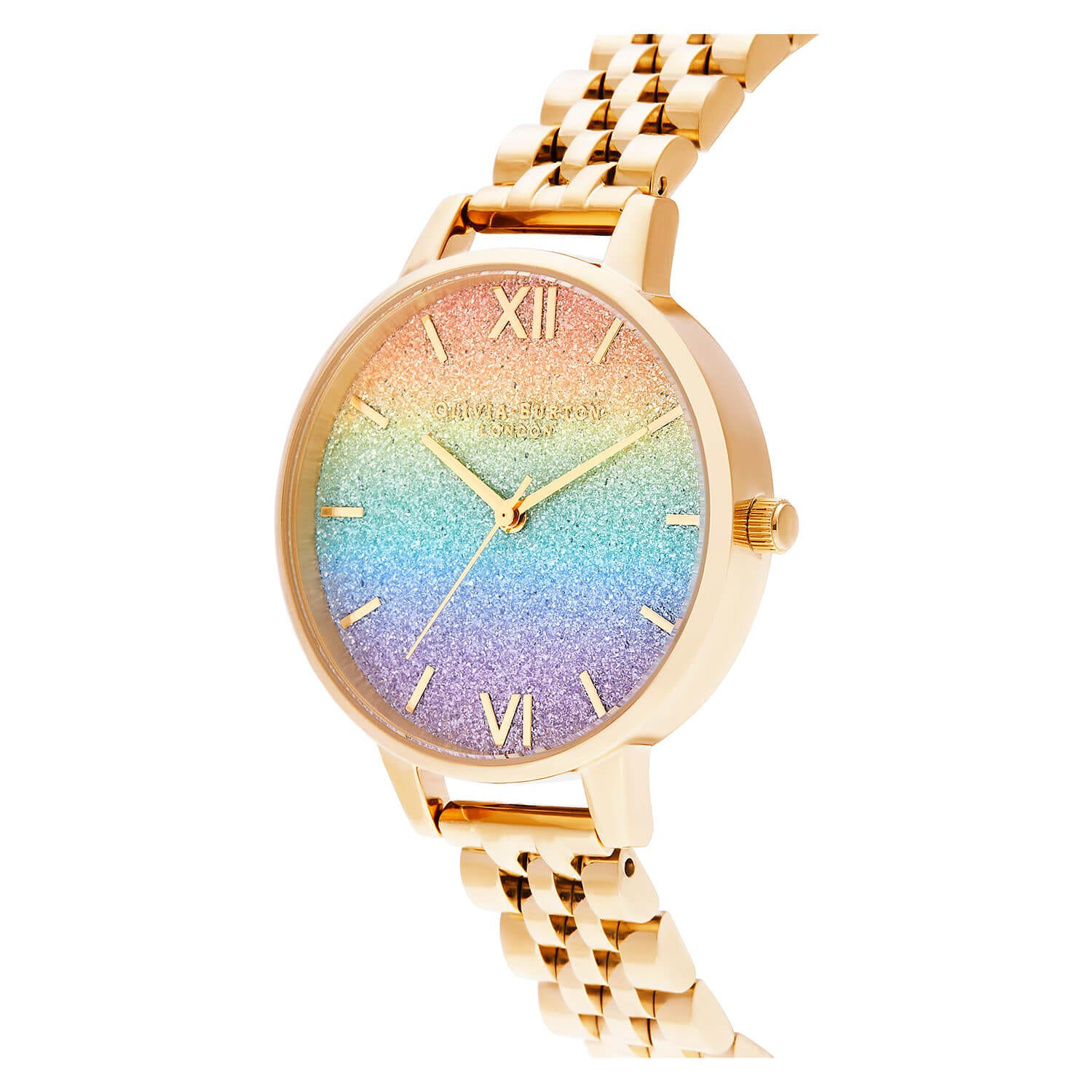 Olivia Burton Rainbow Glitter Dial & Gold Bracelet Ladies Watch