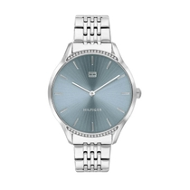 Tommy Hilfiger Gray Ladies Stainless Steel Strap Blue Dial Watch