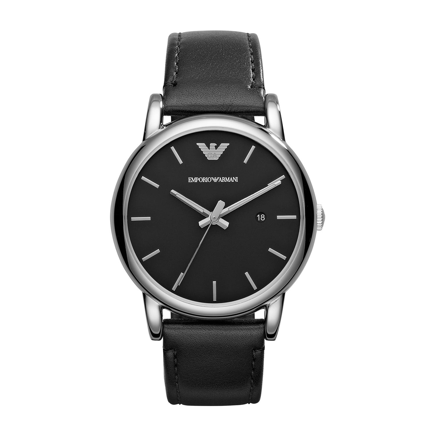 Emporio Armani men's black dial leather strap watch