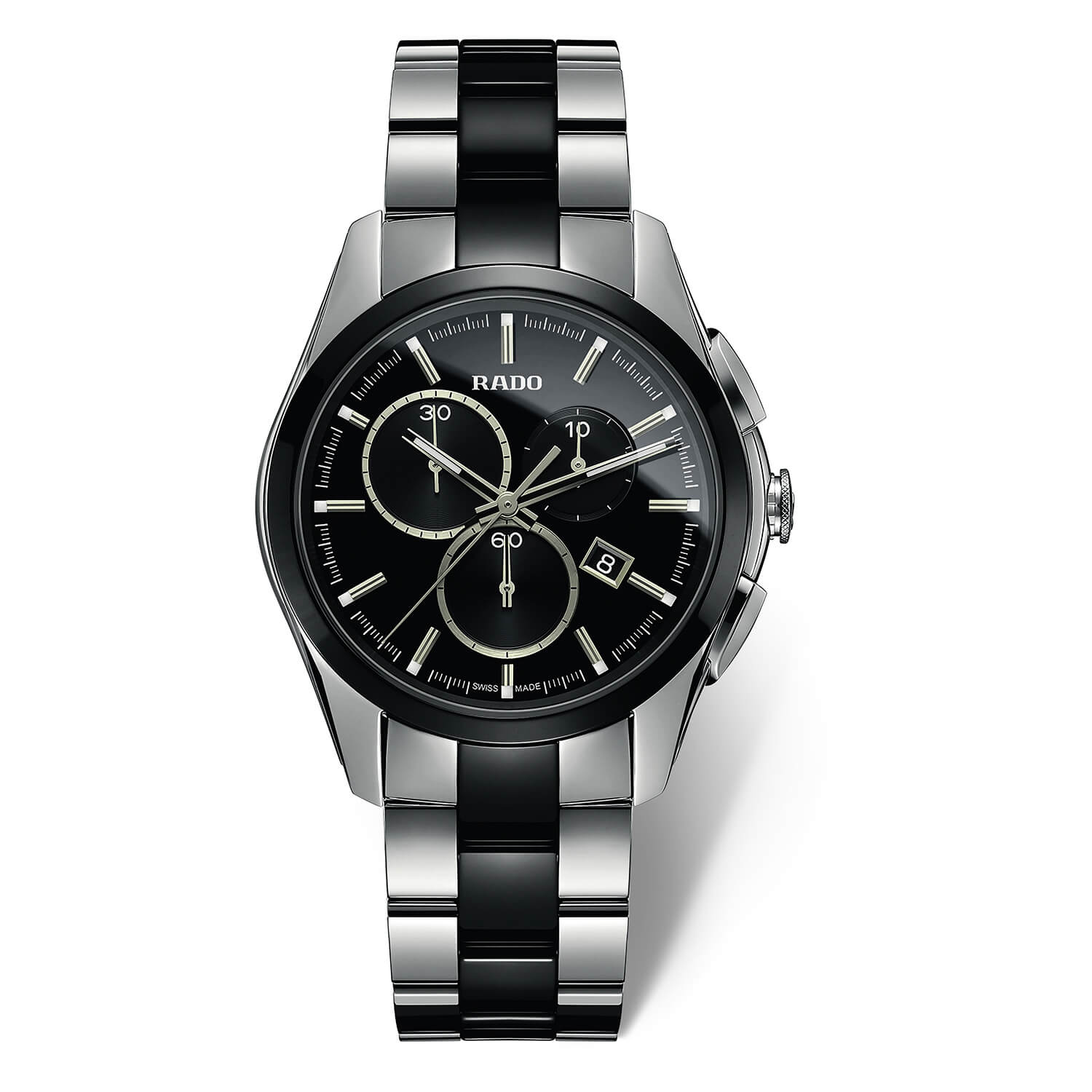 Rado Hyperchrome chronograph men's black and stainless steel bracelet watch