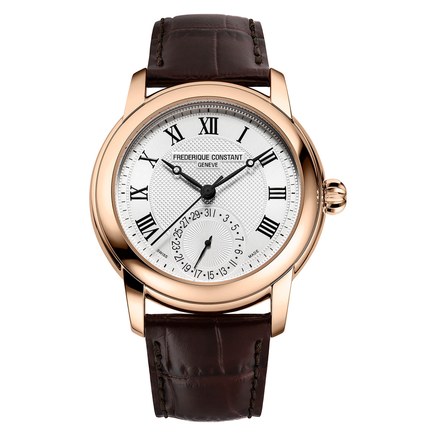Frederique Constant Classics Rose Gold Plated Brown Strap Men's Watch