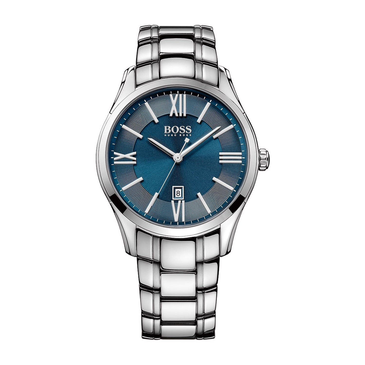 Hugo Boss men's blue dial stainless steel bracelet watch