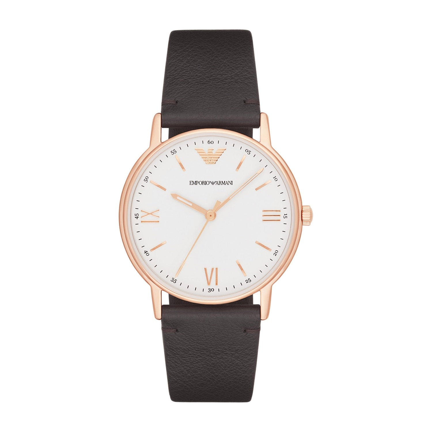Emporio Armani Gents Brown Leather Strap Watch