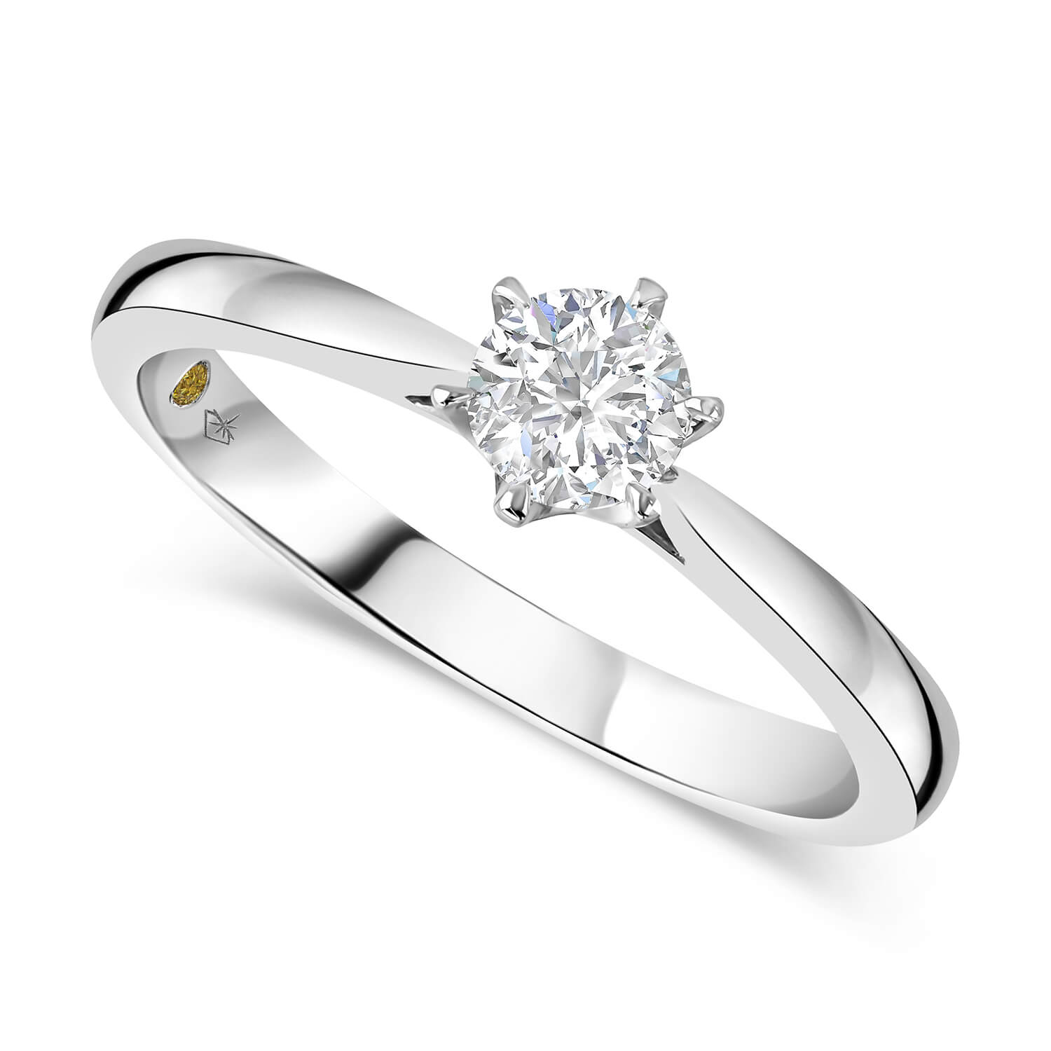 Northern Star 18ct White Gold 0.50ct Diamond Six Claw Solitaire Ring